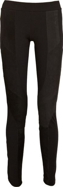 Gar-de Karluk Suede-paneled Jersey Leggings in Black