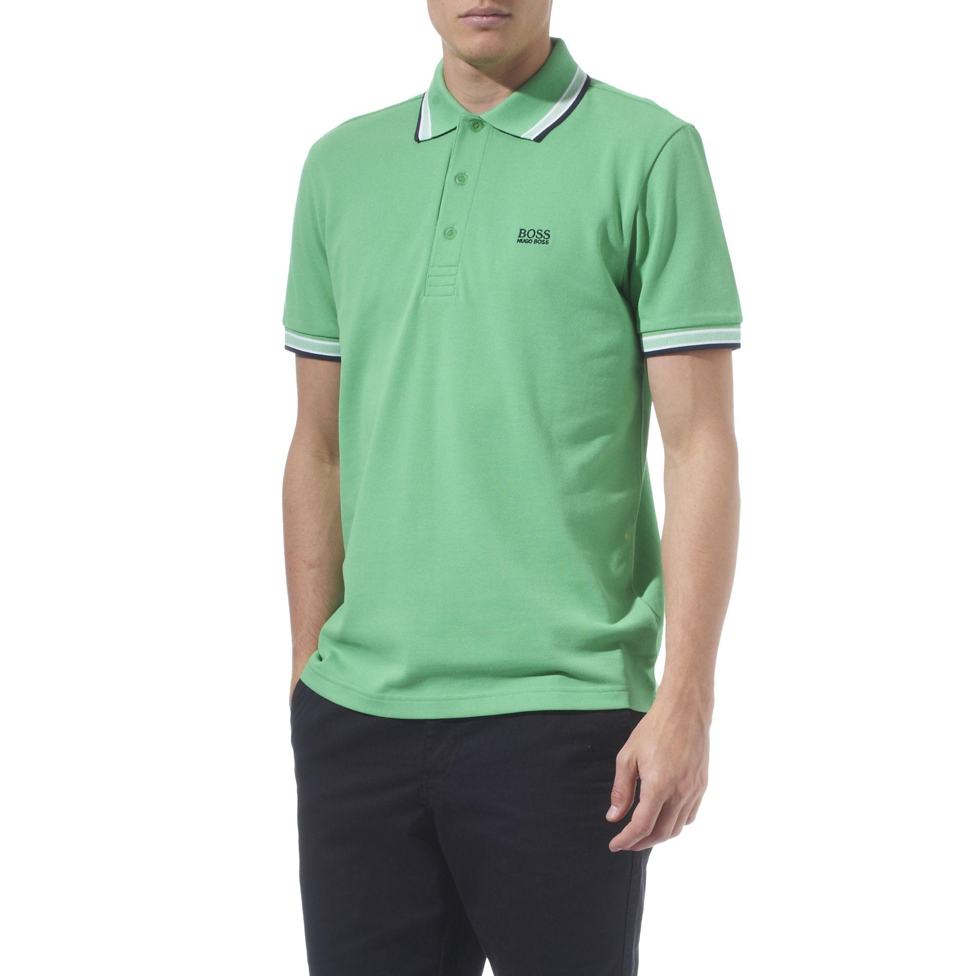 Hugo boss paddy contrasting trim polo shirt in green for for Hugo boss dress shirt review