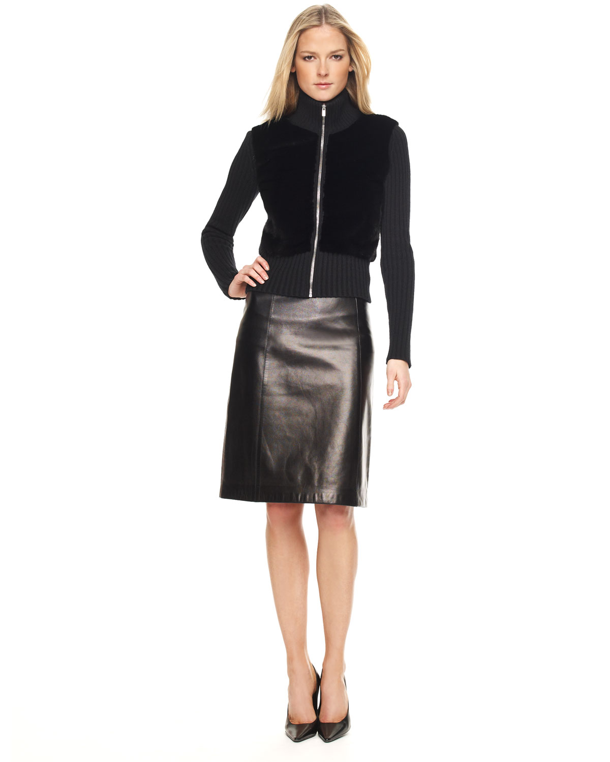 Michael kors Leather A-line Skirt in Black | Lyst