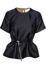 3.1 Phillip Lim Belted Satin Peplum Top - Lyst