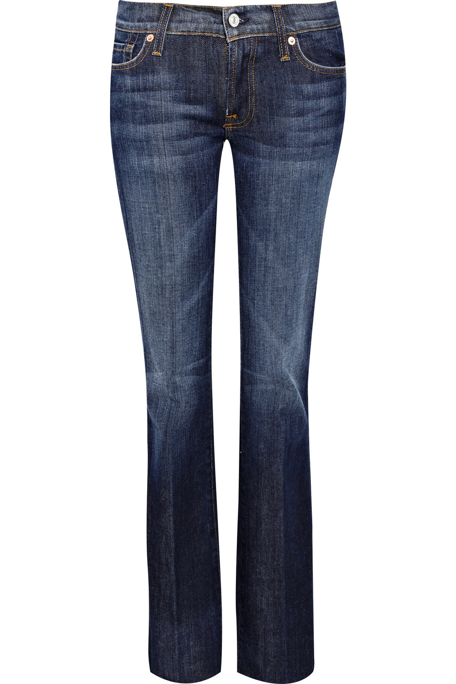 7 for all mankind midrise bootcut jeans in blue navy lyst. Black Bedroom Furniture Sets. Home Design Ideas