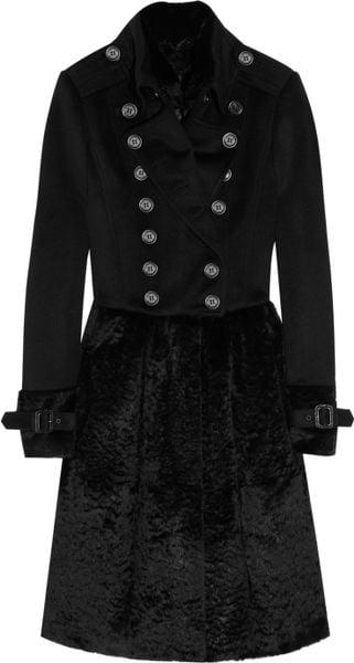 Burberry Prorsum Wool-blend and Rabbit Coat in Black