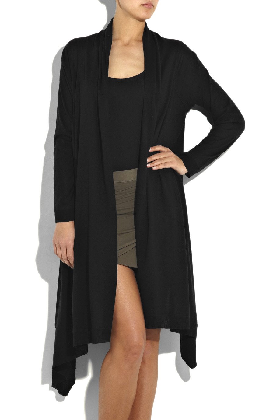 Dkny Silk And Cashmere-blend Cardigan in Black | Lyst