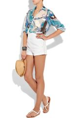 Emilio Pucci Stretchcotton Shorts in White - Lyst