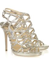 Jimmy Choo Zinc Cracked-leather Cutout Sandals - Lyst