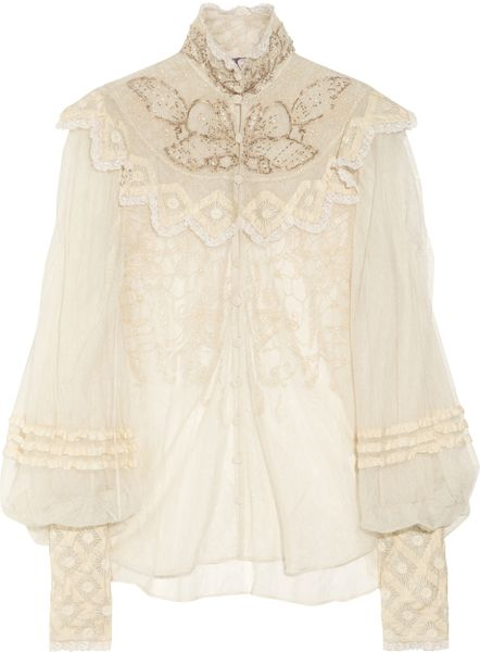 Ralph Lauren Collection Therese Embellished Silktulle Blouse in Beige (cream) - Lyst