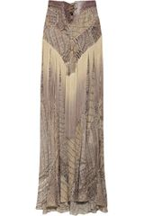 Roberto Cavalli Fringed Snakeprint Silkchiffon Maxi Skirt in Brown (snake) - Lyst