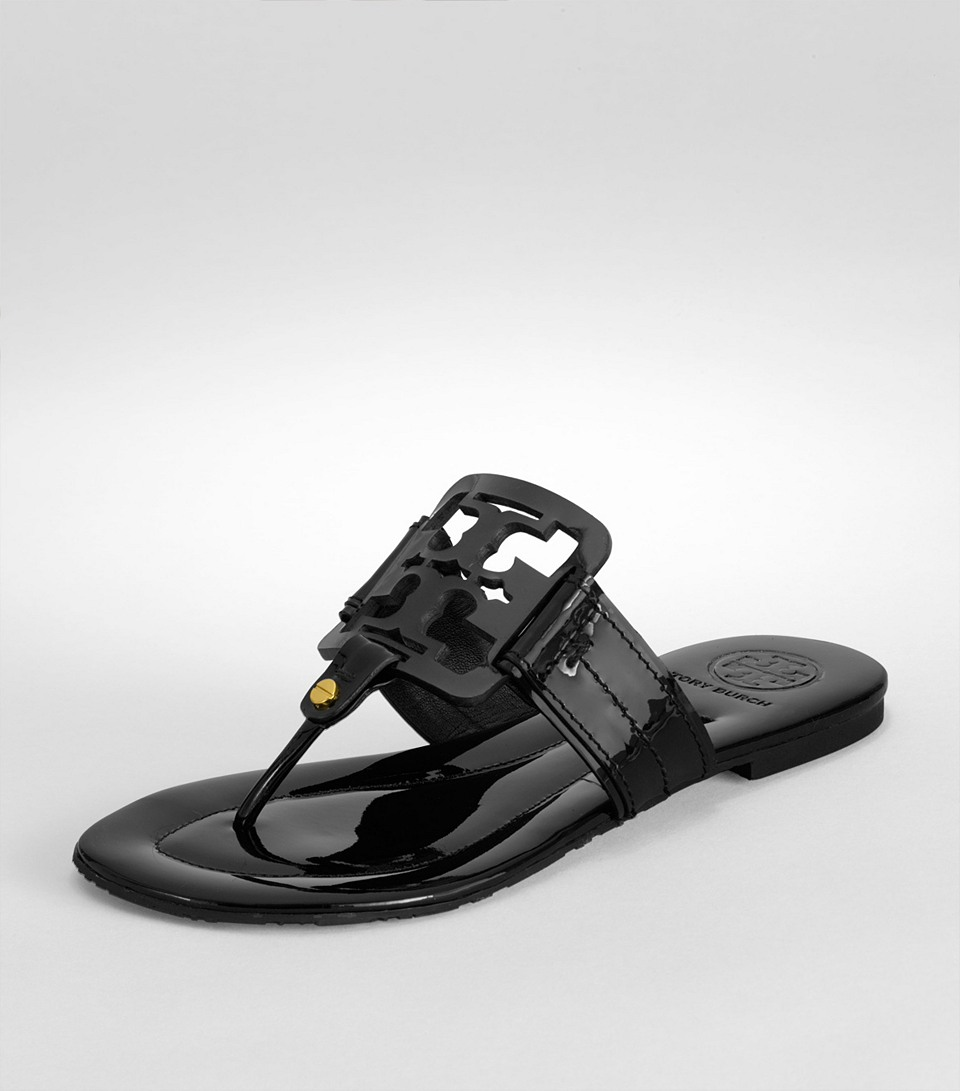 c23101afd2da Lyst - Tory Burch Square Miller Patent Leather Thong Sandals in Black