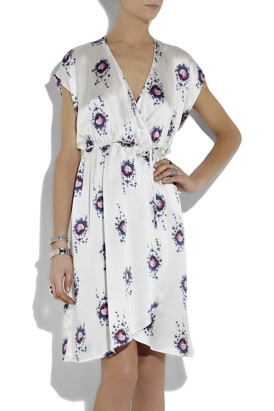 Lyst Tucker Printed Silk Charmeuse Wrap Dress In White