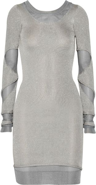 Zac Posen Cutout Metallic Sweater Dress in Silver