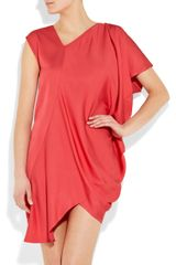 Zero + Maria Cornejo Cade Asymmetric Satincrepe Dress in Pink (coral) - Lyst