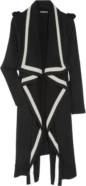 Alexander McQueen Long Two-tone Wool Cardigan - Lyst