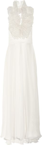 Notte By Marchesa Ruffled Silkorganza and Silkchiffon Gown in White (notte) - Lyst