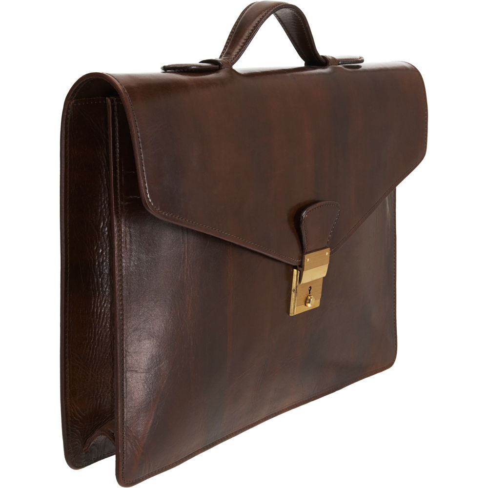 Saddlers Union Single Gusset Briefcase In Brown For Men