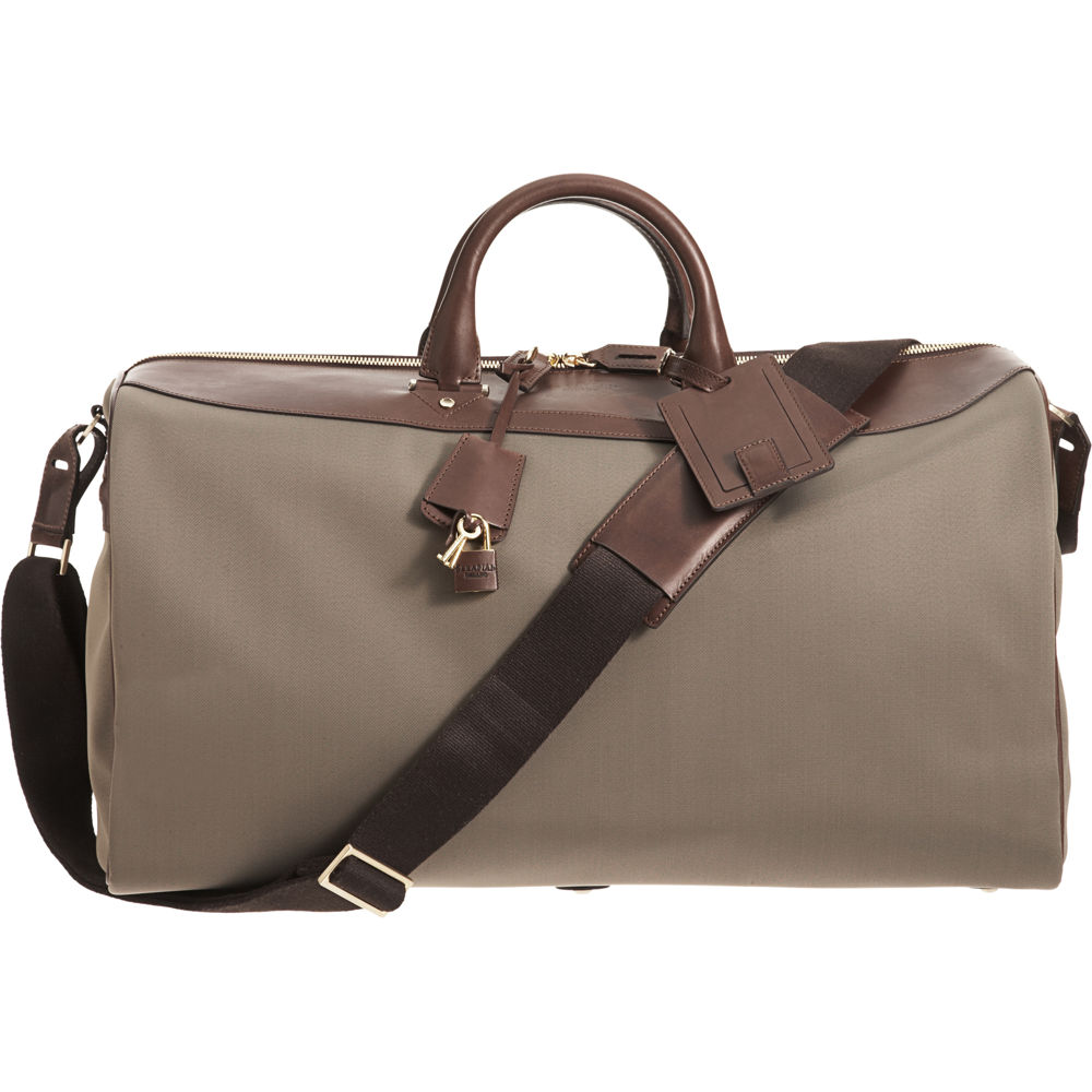 Serapian Leather Double Handle Duffel Bag In Gray For Men