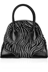 Alaïa Leather-trimmed Zebra-print Calf-hair Bag - Lyst