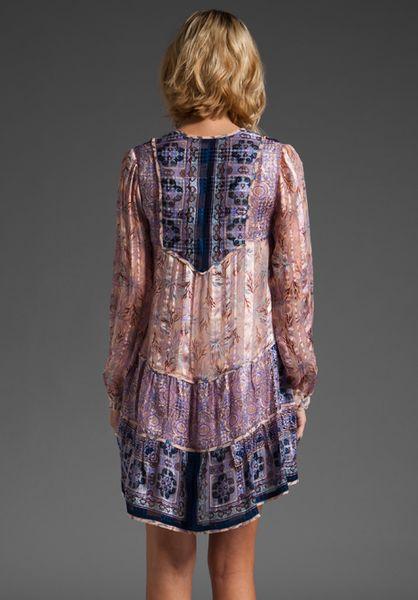 Anna Sui Runway Love Bird Mixed Print Dress In Purple