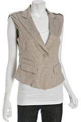 BCBGMAXAZRIA Heather Khaki Stretch Jersey 1-button Vest