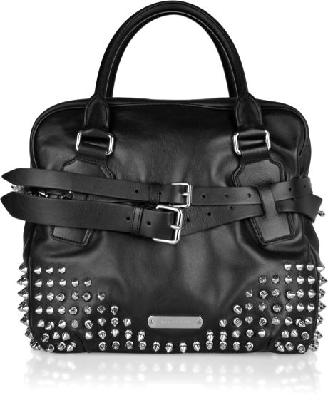 Burberry Studded Leather Bowling Bag in Black - Lyst