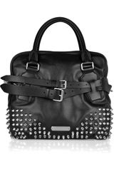 Burberry Studded Leather Bowling Bag - Lyst
