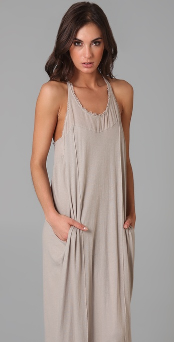 Lyst Raquel Allegra Frayed Cotton Gauze Maxi Dress In Gray