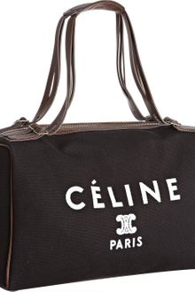 Celine Black Canvas and Leather Logo Print Boston Bag - Lyst