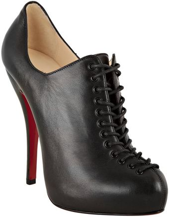 Christian Louboutin Black Leather 24 Trous 120 Lace-up Booties - Lyst