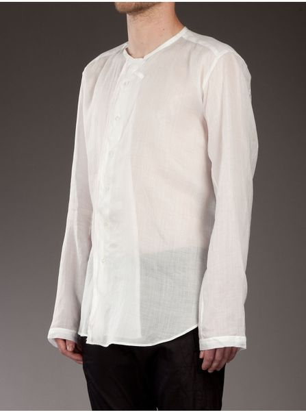G Guaglianone Linen Collarless Shirt In White For Men Lyst