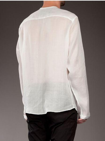 Linen collarless shirt in white for men lyst for Collarless shirts for men