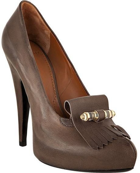 Givenchy Dark Taupe Leather Golf Fringe Platform Pumps in Brown (taupe) - Lyst