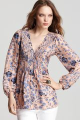 Rebecca Taylor Long Sleeve Carnation Forest Blouse - Lyst
