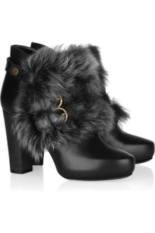 Donna Karan New York Shearling-trimmed Leather Ankle Boots - Lyst