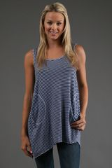 Allen Allen Stripe Tank Top in Lapis  - Lyst