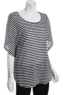 BCBGMAXAZRIA Blue and White Striped Slub Cottom Dolman T-shirt - Lyst