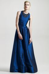 David Meister Signature Jewel-neck Hammered Satin Gown - Lyst
