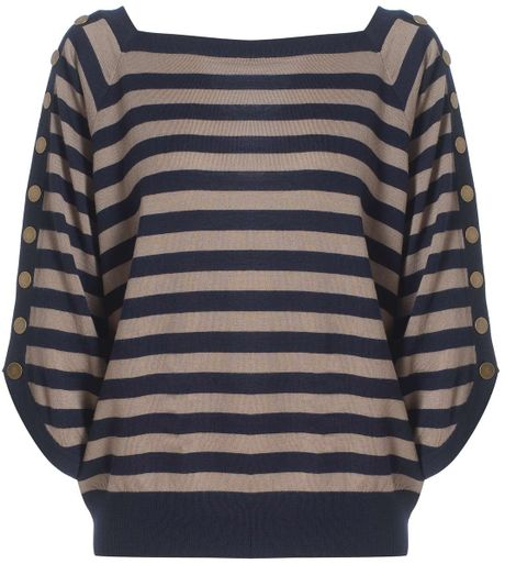 Jaeger Button Stripe Sweater in Blue (navy) - Lyst