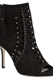 Jimmy Choo Black Cutout Suede Zigzag Peep Toe Booties - Lyst