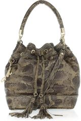 Milly Python-effect Leather Bucket Bag - Lyst