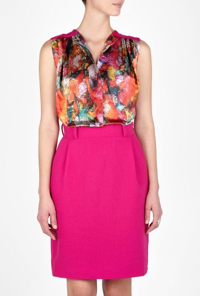 Preen Pink Leaf Printed Blouse Dress in Pink - Lyst
