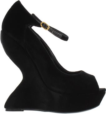 Alexander McQueen Velvet and Leather Black Sandals - Lyst