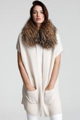 Alice + Olivia Janice Cardigan with Genuine Fur Collar - Lyst