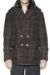 Burberry Prorsum Mink Collar Checked Wool Coat - Lyst