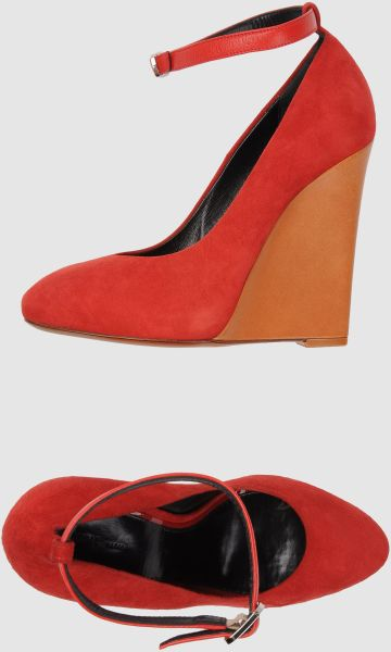 Celine Wedge in Red (blue) - Lyst