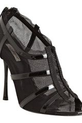 Dolce & Gabbana Black Patent Leather Strap and Mesh Peep Toe Sandals in Black - Lyst