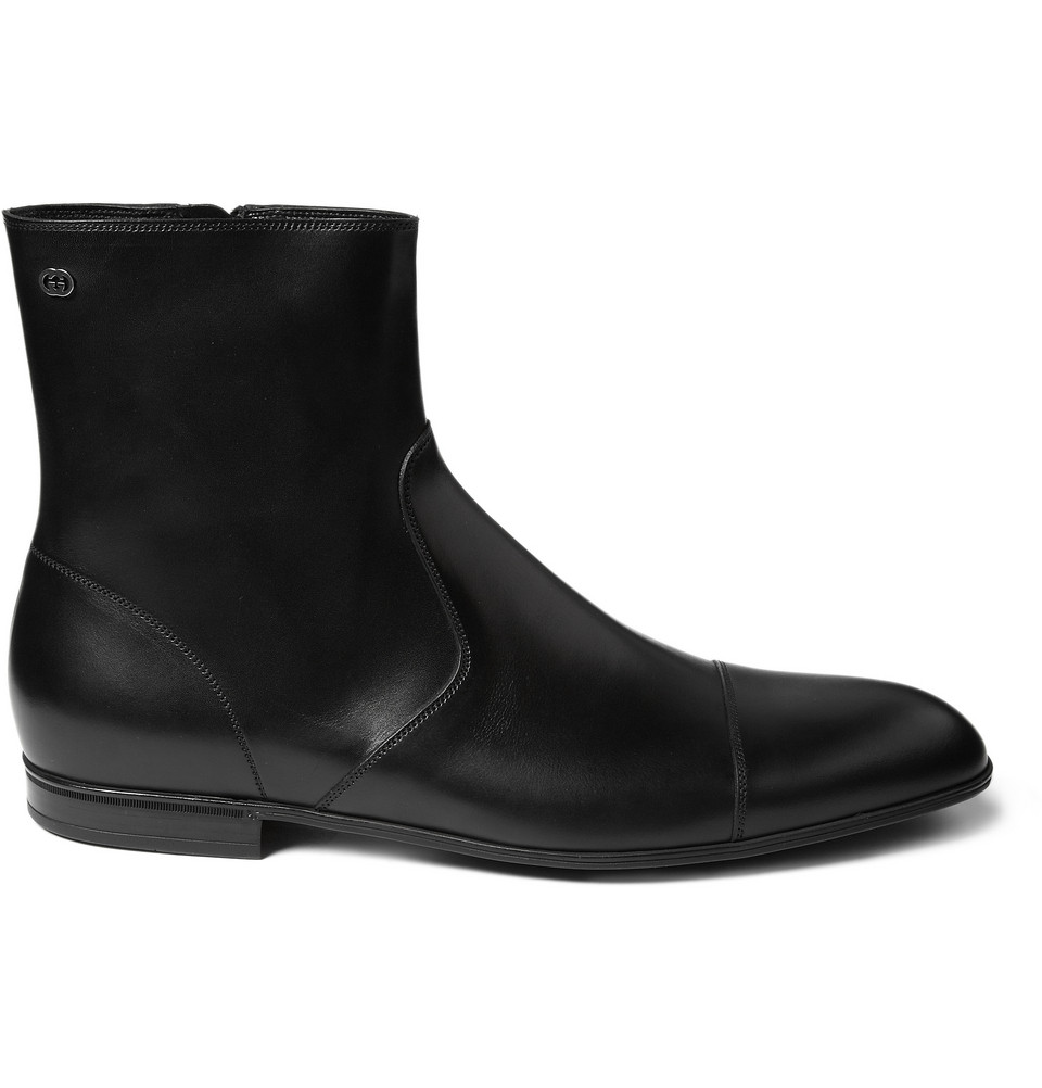 gucci leather chelsea boots in black for lyst