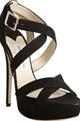 Jimmy Choo Black Suede Louisa Crisscross Platform Sandals - Lyst