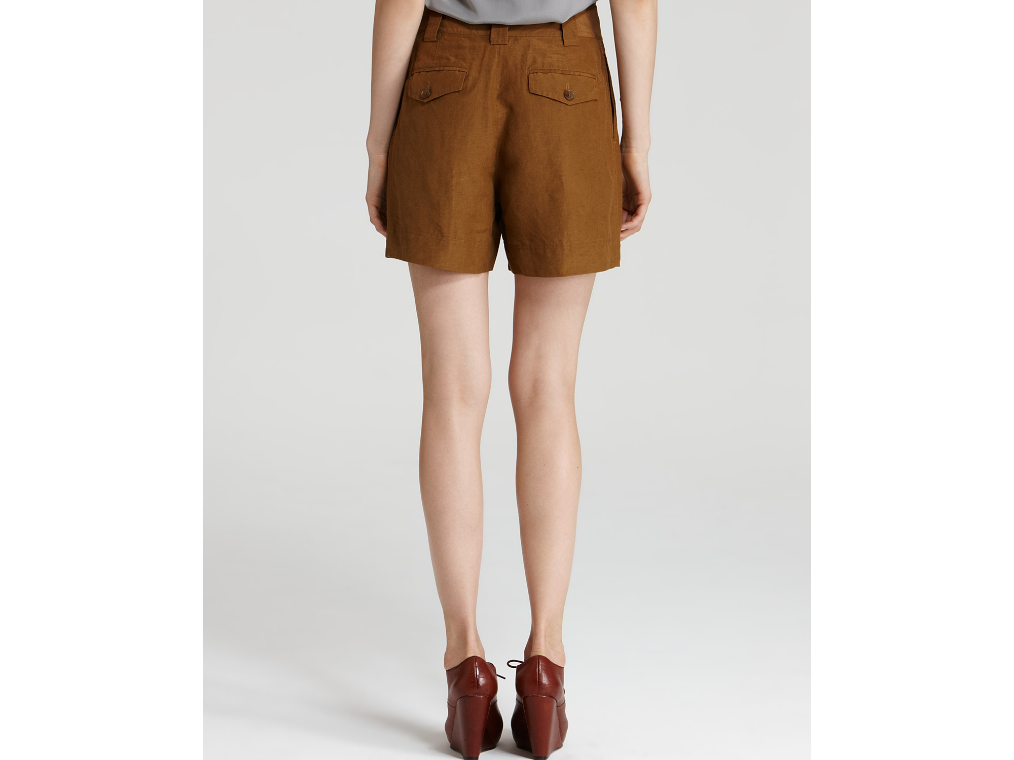 Marc by marc jacobs Cari Silk Linen High-waisted Shorts in Brown ...