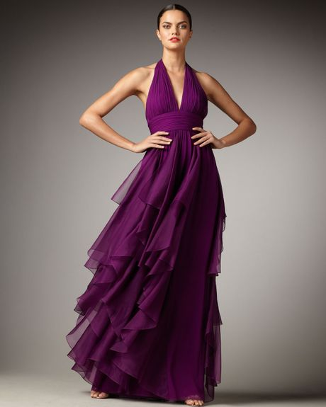 Notte By Marchesa Cascading Halter Gown in Purple (plum)