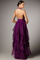 Notte By Marchesa Cascading Halter Gown in Purple (plum) - Lyst