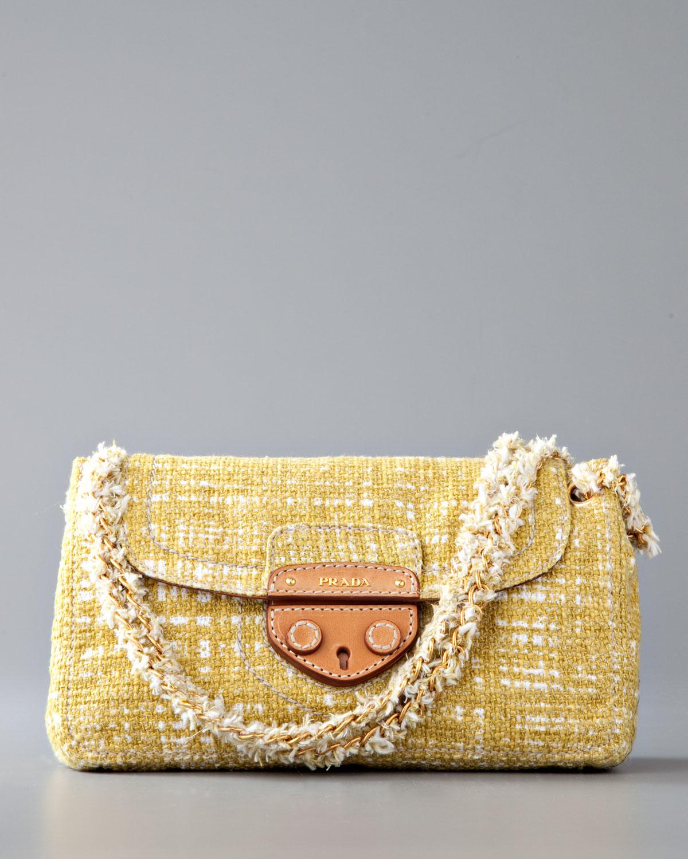 Prada Tela Tweed Medium Shoulder Bag in Yellow (green) | Lyst